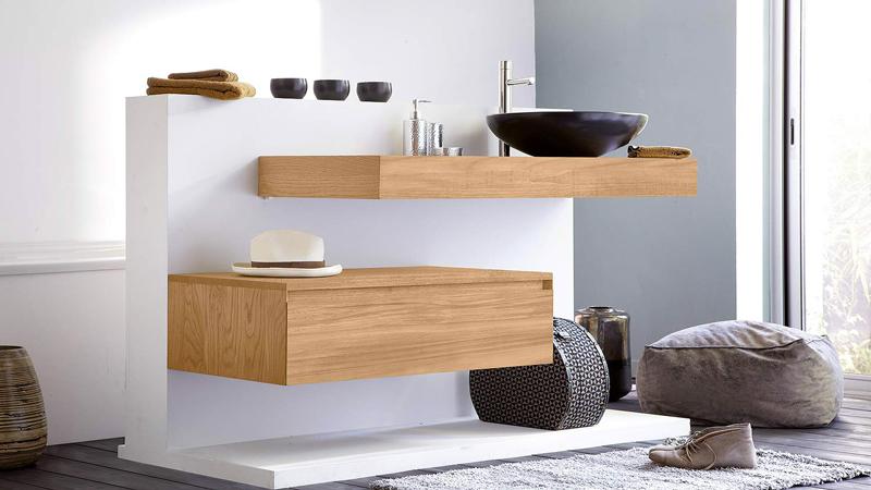 Idée déco et photo pour aménager une salle de bain zen avec meubles vasque, baignoire, douche et carrelage