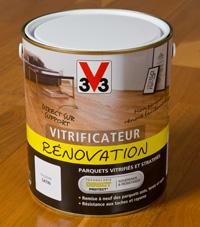 Pot Vitrificateur Rénovation V33 disponible en 0.75l, 2.5l et 5 litres en grandes surfaces de bricolage