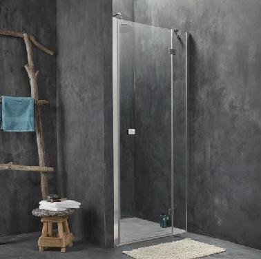 Aménagement d'une douche italienne dans une petite salle de bain Installée dans un angle, fermée par une porte en verre transparent qui laisse voir les murs et le sol en béton ciré gris anthracite.