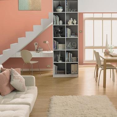 une peinture salon terre de sienne orangée, une couleur à adopter pour la déco d'un salon moderne où une ambiance de couleurs pastel est recherchée