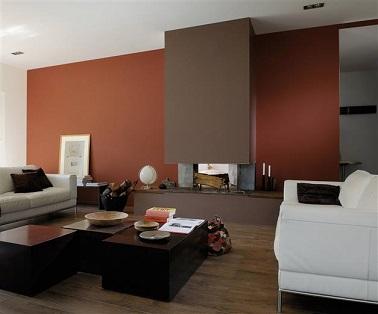 Moderne, savamment cocooning, une palette de bruns pour la peinture salon. Mettant en valeur l'architecture design de la cheminée une peinture couleur brun moka et brun oranger portent également l'intérêt du salon vers les canapés cuir blanc gamme peinture nfiniment Zolpan Ed. 2