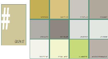 Un nuancier de couleurs écolo ! Apportez un vent de fraîcheur à votre pièce en associant deux teintes de cette palette. Le vert céladon, couleur phare de ce nuancier, et un beige presque blanc se marieront à merveille pour un effet nature absolu.