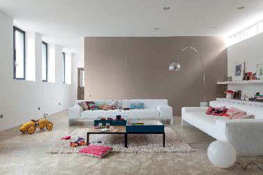 Une peinture salon couleur terre et blanc finition mat et lessivable pour profiter de l'effet chic de la peinture mat sans se soucier de l'apparition de tache de graisse ou de doiget sur les murs !  Peinture DécoLab Mat 100% résistant V33