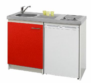 Rouge et grise, la kitchenette se part de couleurs élégantes et se présente tout équipée dans la cuisine Mini réfrigérateur avec congélateur, évier inox, le tout compacté dans un meuble en mélaminé blanc fermé par 2 portes de couleur chez Lapeyre.