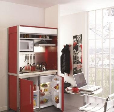 Un petit espace optimisé dans la cuisine avec cette kitchenette hyper déco comprenant hotte, crédence, évier cuisinette, plaque vitrocéramique et micro-onde encastrés derrière un volet roulant Réf : Combibloc Déco Moderna.