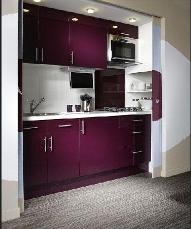 Camouflée derrière les portes d'un placard, voilà un concept de kitchenette à encastrer hyper discrète dans un petit espace !Meuble de cuisine couleur aubergine réf : Délinia Rio 490.00€ chez Leroy Merlin