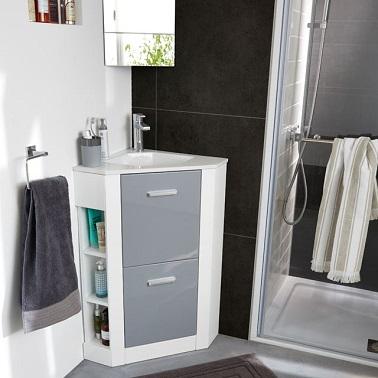 Într-un studio sau o baie mică, luați în considerare punerea unei chiuvete de colț Hyper compacte cu depozitare. Nu dracu 'și este convenabil Cu duș, planurile de chiuvetă găzduiește foarte bine colțul de perete la adosse. Într-o cameră de duș nebun, acest tip de mobilier ergonomic multiport este foarte util pentru câștigarea camerei. Și acesta nu este singurul avantaj deoarece aduce o decorare plus în cameră datorită formei sale originale. Cabinet de baie de la Castrama'angle hyper compact avec rangements. Ça n'encombre pas et c'est bien pratique.
