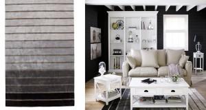 Un tapis à rayures pour décorer un salon ou une chambre moderne.