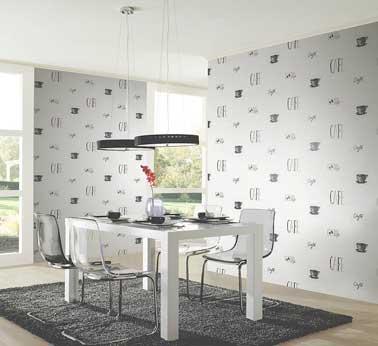 Un papier peint intissé en vinyle expansé motifs marrons pour la cuisine moderne. Brillant et insolite, ce papier peint cuisine se plait avec une déco sobre et blanche