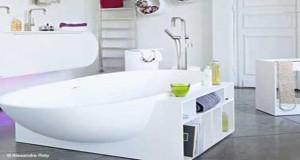 Pour un rangement salle de bain optimisé gain de place, Petit meuble, étagèrescoulissantes, rangementsous baignoire et lavabo, porte-serviette, des idées astucieuse pour un rangement de salle de bain au top