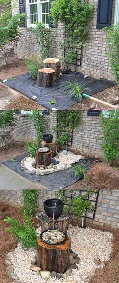 Fabriquer une fontaine avec des rondins bois est une bonne idée de DIY déco pour aménager un jardin zen pas cher. Le résultat est esthétique et apaisant.