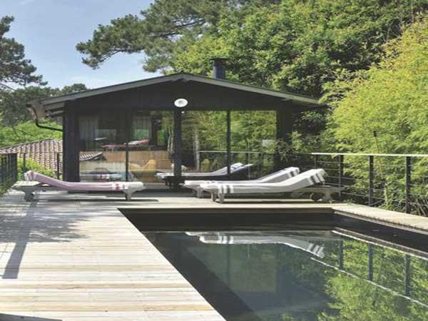 Terrasse en bois décorée avec un style de jardin zen. Des massifs de bambou plantés autour de la piscine d'extérieur et des transats créent une ambiance apaisante.