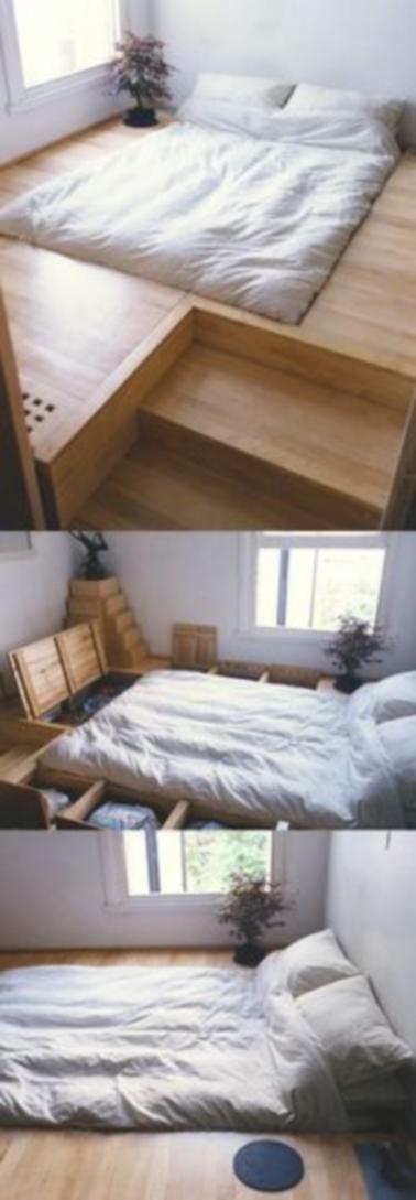 Plusieurs niches ont été aménagées dans le sol de cette chambre qui s'est transformée en lit avec rangement hyper théâtrale. L'utilisation du bois crée une ambiance apaisante.