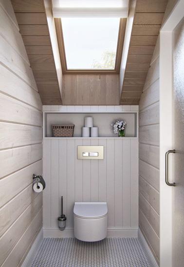 Pour des WC où la déco se fait chic et élégante, optez pour des lambris bois à fixer sur les murs, des tons naturels et un joli toilette suspendu pour souligner le tout ! Effet garanti