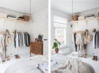 Plutôt qu'une grosse armoire, un dressing dans une chambre est une bonne idée pour ranger ses vêtements, et ne coûte pas toujours cher suivant les éléments utilisés.