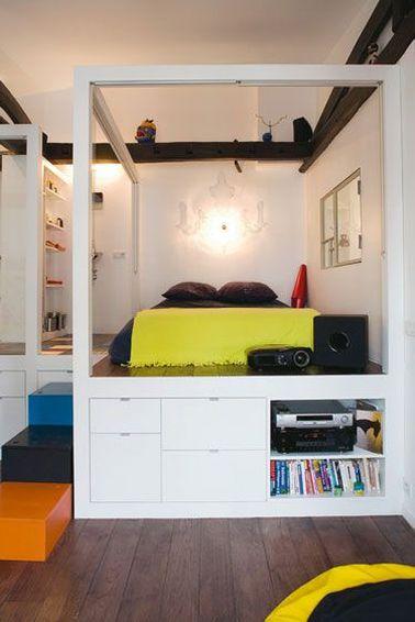 La fabrication d'un lit avec rangement peut s'inscrire dans un projet d'aménagement global de la chambre où tout est surélevé : couchage, bureau, télévision, ...