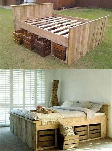 L'utilisation de palettes permet de réaliser un lit avec rangement pour un coût très faible. En plus, celles-ci sont complètement dans la tendance déco du moment !