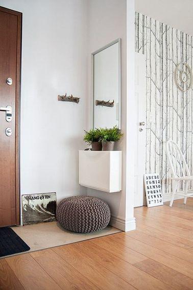 Dans ce petit appartement, on a choisi un revêtement de sol différent, et créer une cloison pour faire un hall d'entrée accueillant.