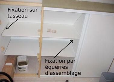 Deux manières de fixer les étagères d'un dressing sous pente, soit par des des équerres d'assemblages ou des tasseaux de bois qui sont eux-mêmes fixés par des chevilles.
