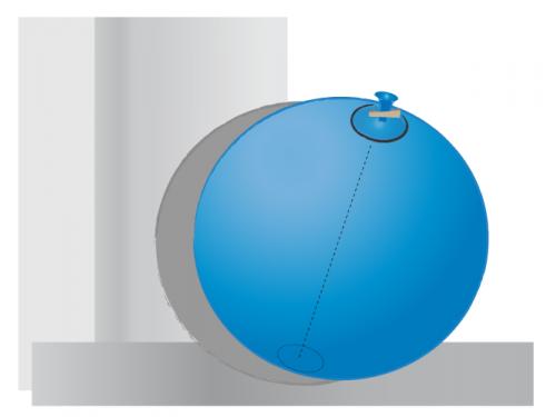 Globo inflado cerrado con pinza para ropa