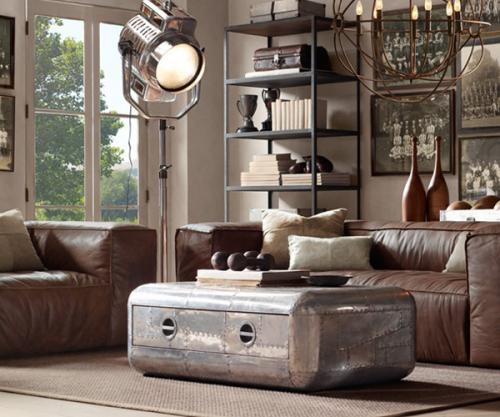 Sala de estar estilo steampunk